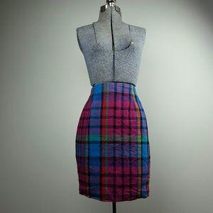 Vintage 90's Pink Plaid Pencil Skirt